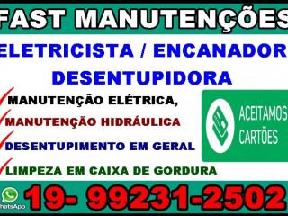 Desentupidora E Eletricista No Bosque Em Campinas 19-99231-2502